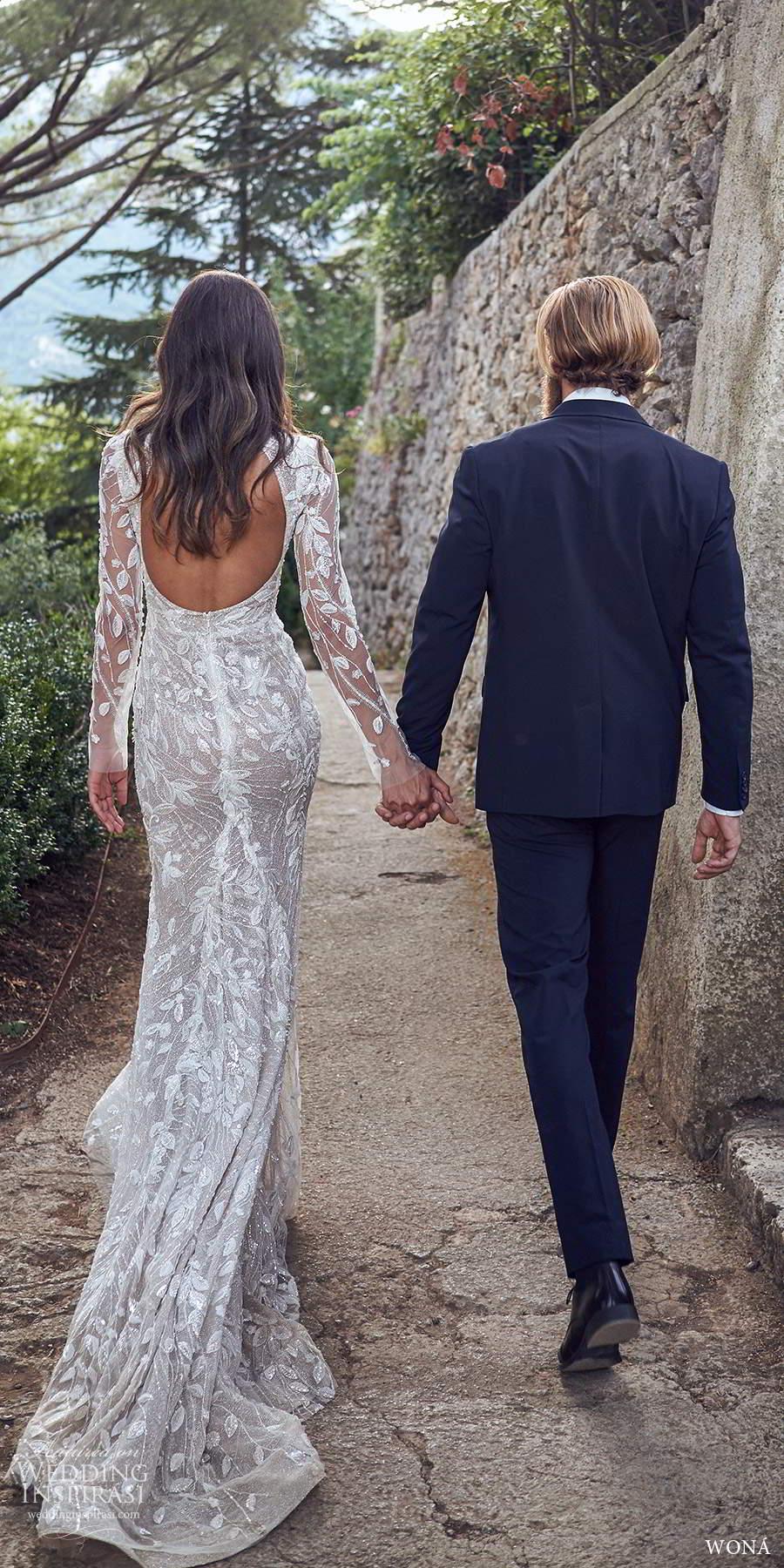 wona fall 2020 bridal illusion long sleeves v neckline fully embellished sheath wedding dress keyhole back chapel train (18) bv