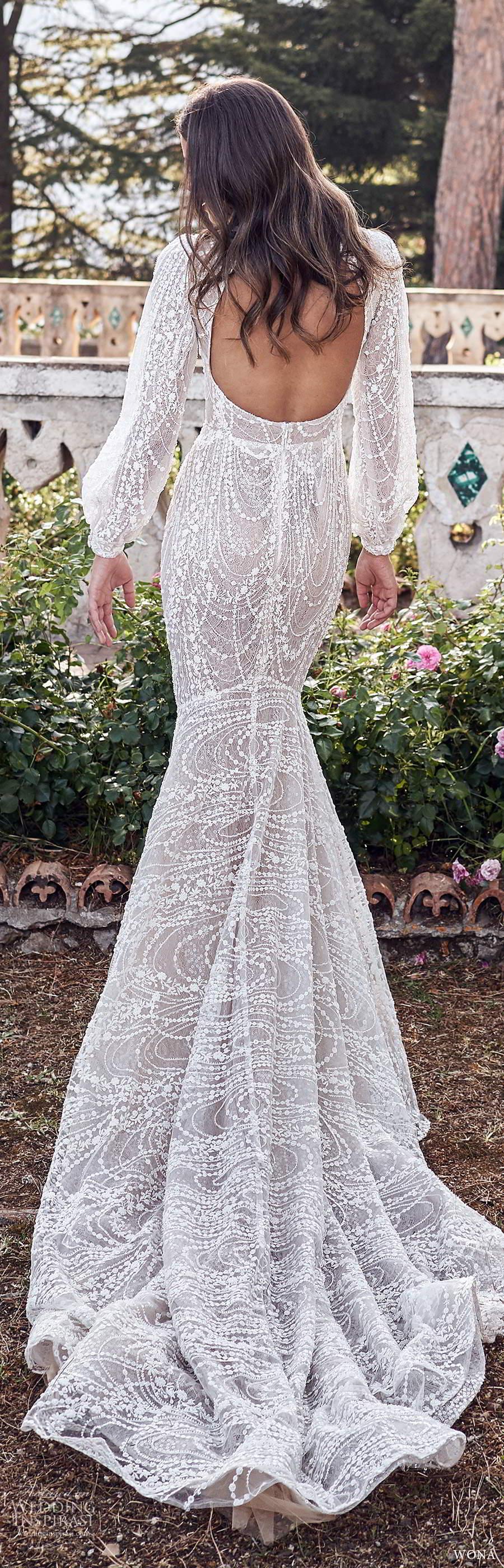 wona fall 2020 bridal long poet sleeves v neckline fully embellished fit flare mermaid wedding dress scoop back chapel train (3) bv