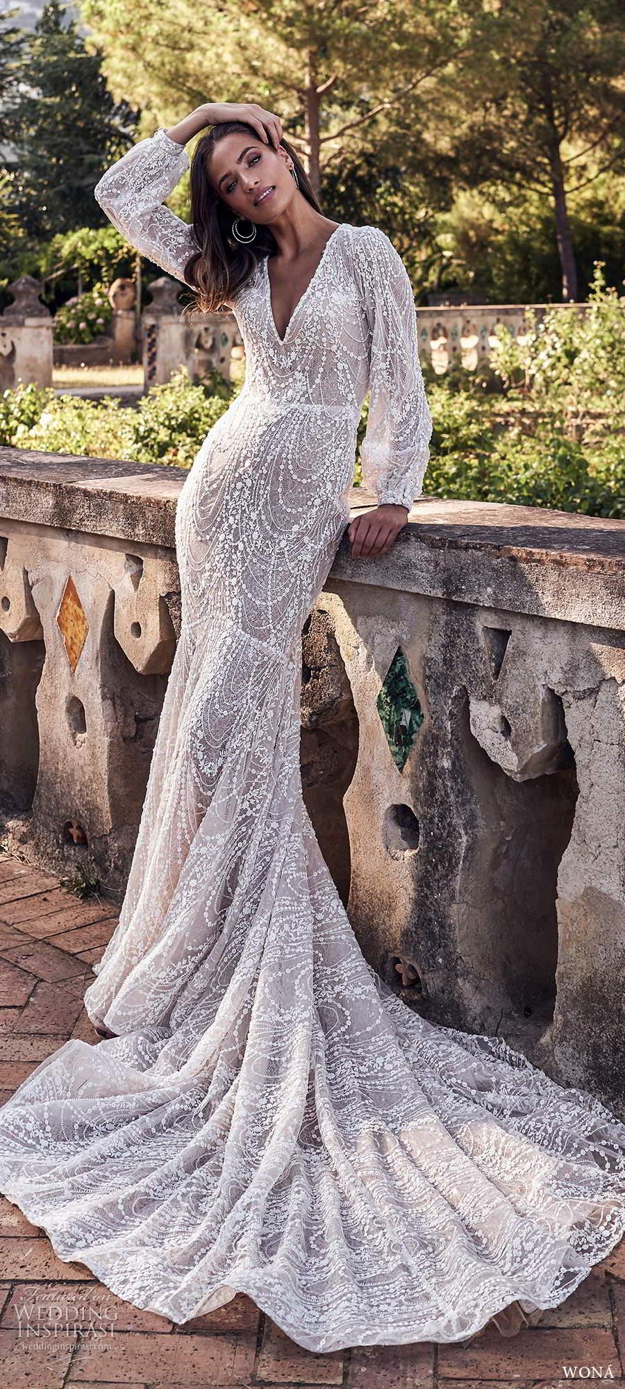 wona fall 2020 bridal long poet sleeves v neckline fully embellished fit flare mermaid wedding dress scoop back chapel train (3) mv