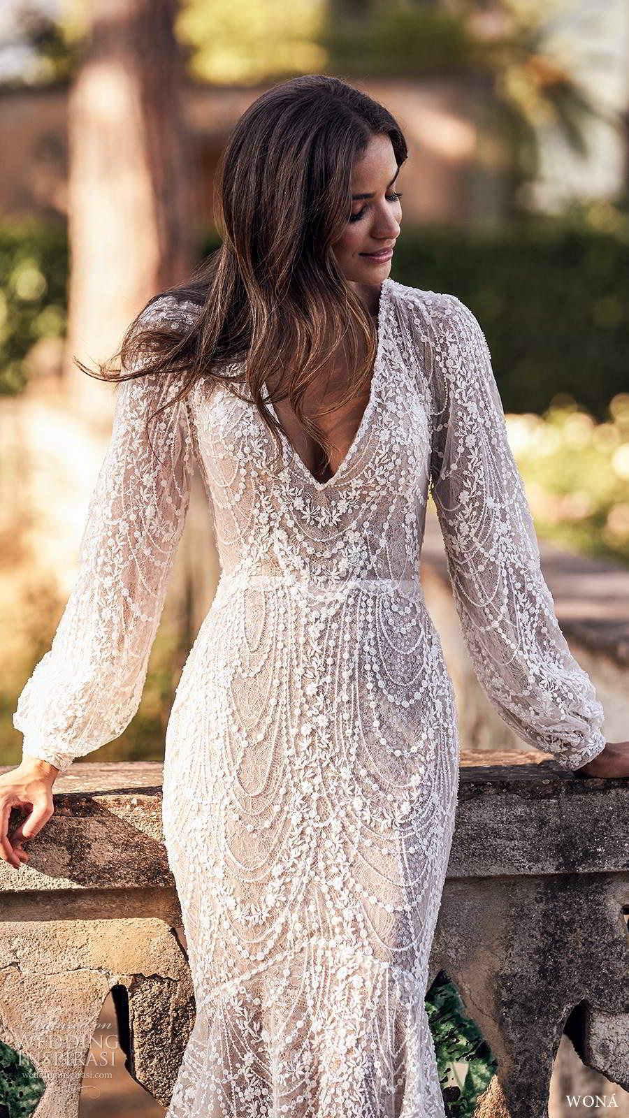 wona fall 2020 bridal long poet sleeves v neckline fully embellished fit flare mermaid wedding dress scoop back chapel train (3) zv