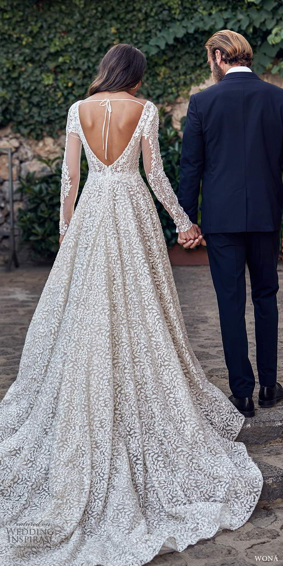 wona fall 2020 bridal long sleeves v neckline fully embellished a line ball gown wedding dress chapel train (5) bv