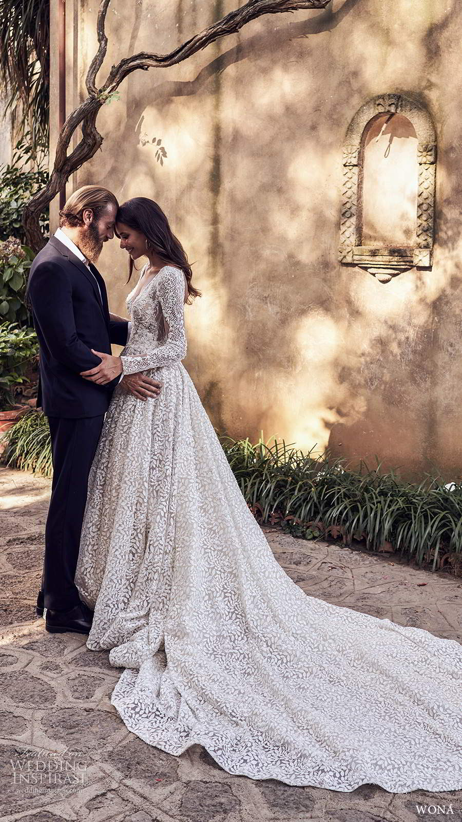wona fall 2020 bridal long sleeves v neckline fully embellished a line ball gown wedding dress chapel train (5) mv