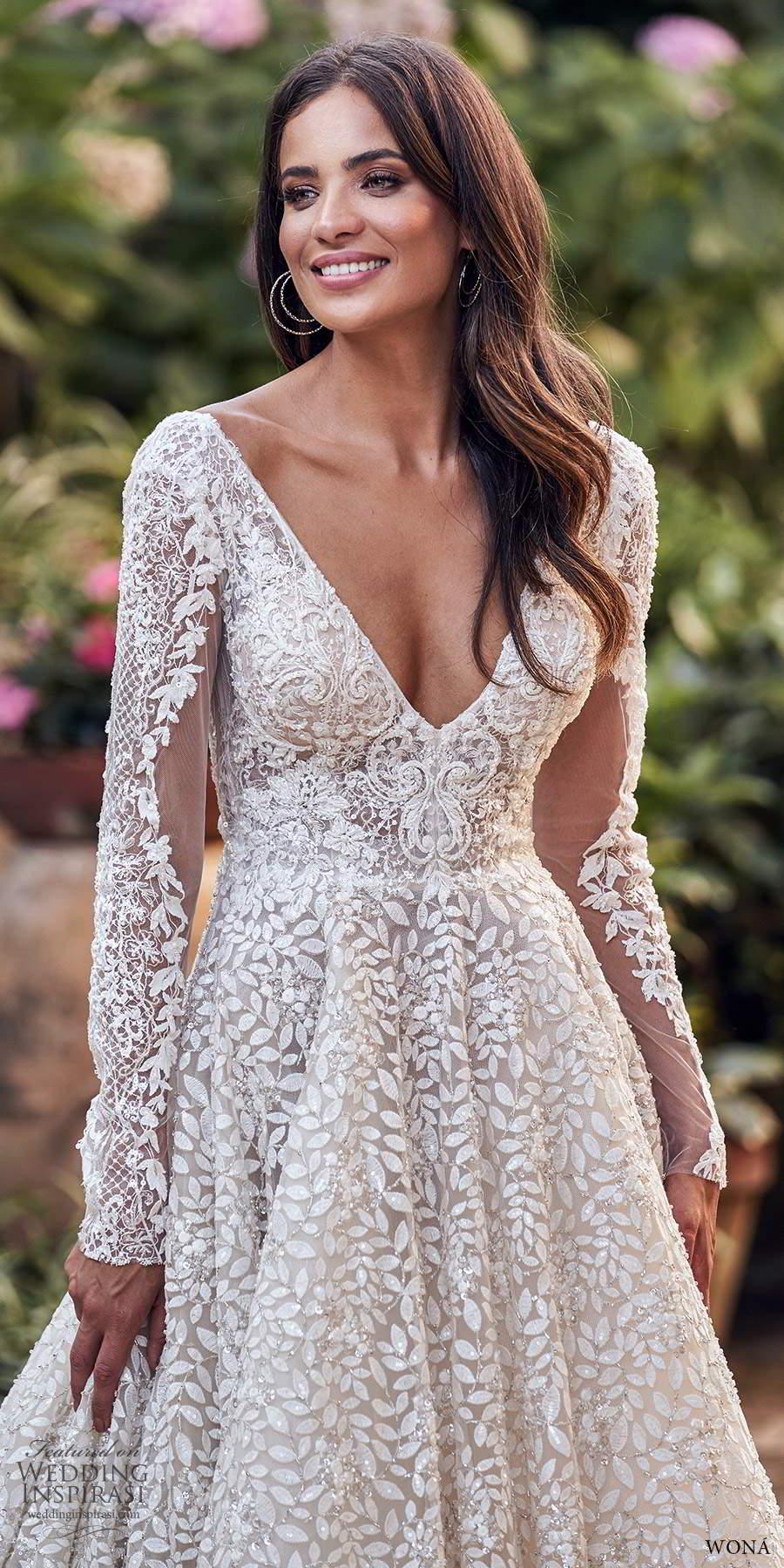 wona fall 2020 bridal long sleeves v neckline fully embellished a line ball gown wedding dress chapel train (5) zv