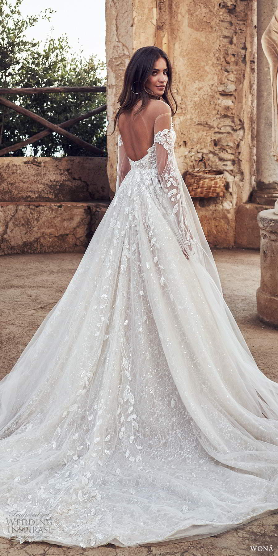wona fall 2020 bridal long split sleeves off shoulder sweetheart neckline fully embellished a line ball gown wedding dress keyhole back chapel train (19) bv