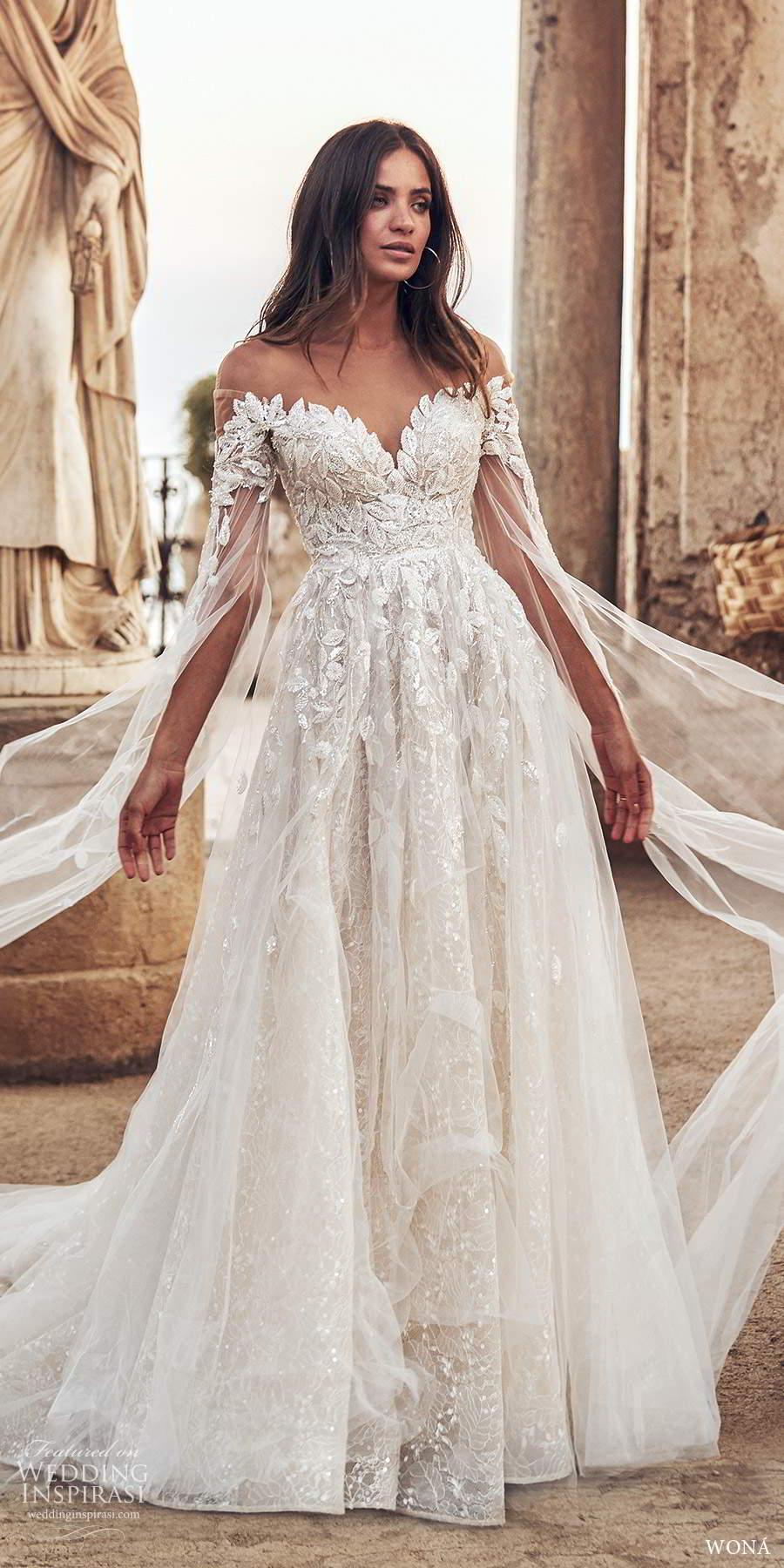 wona fall 2020 bridal long split sleeves off shoulder sweetheart neckline fully embellished a line ball gown wedding dress keyhole back chapel train (19) mv