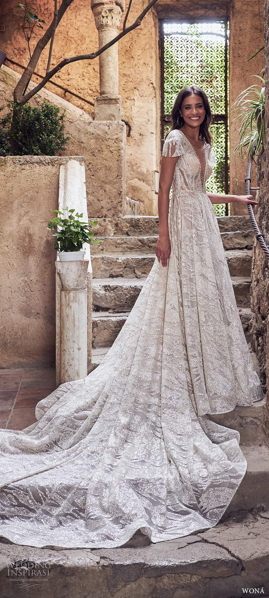 wona fall 2020 bridal short sleeves plunging v neckline fully embellished a line ball gown wedding dress low scoop back cathedral train (9) mv