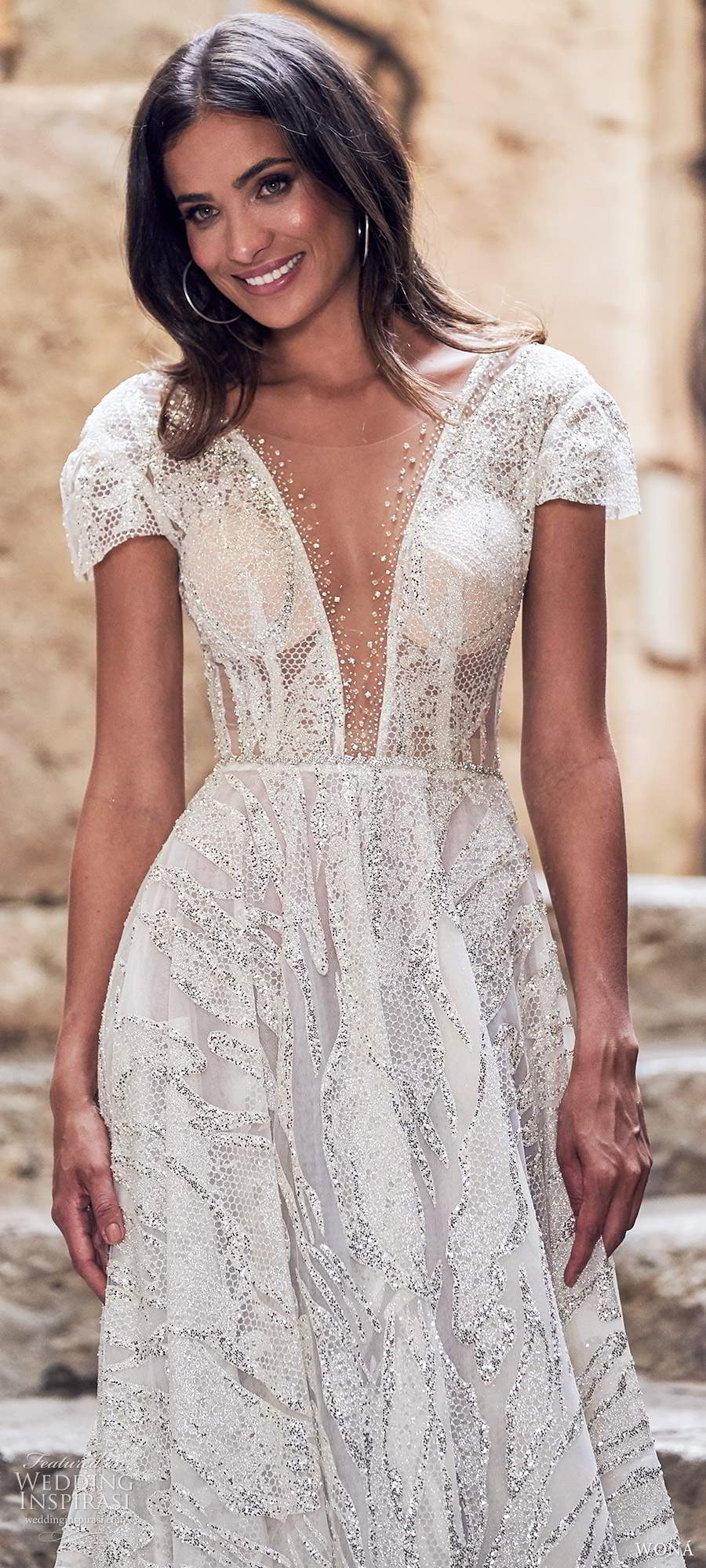 wona fall 2020 bridal short sleeves plunging v neckline fully embellished a line ball gown wedding dress low scoop back cathedral train (9) zv