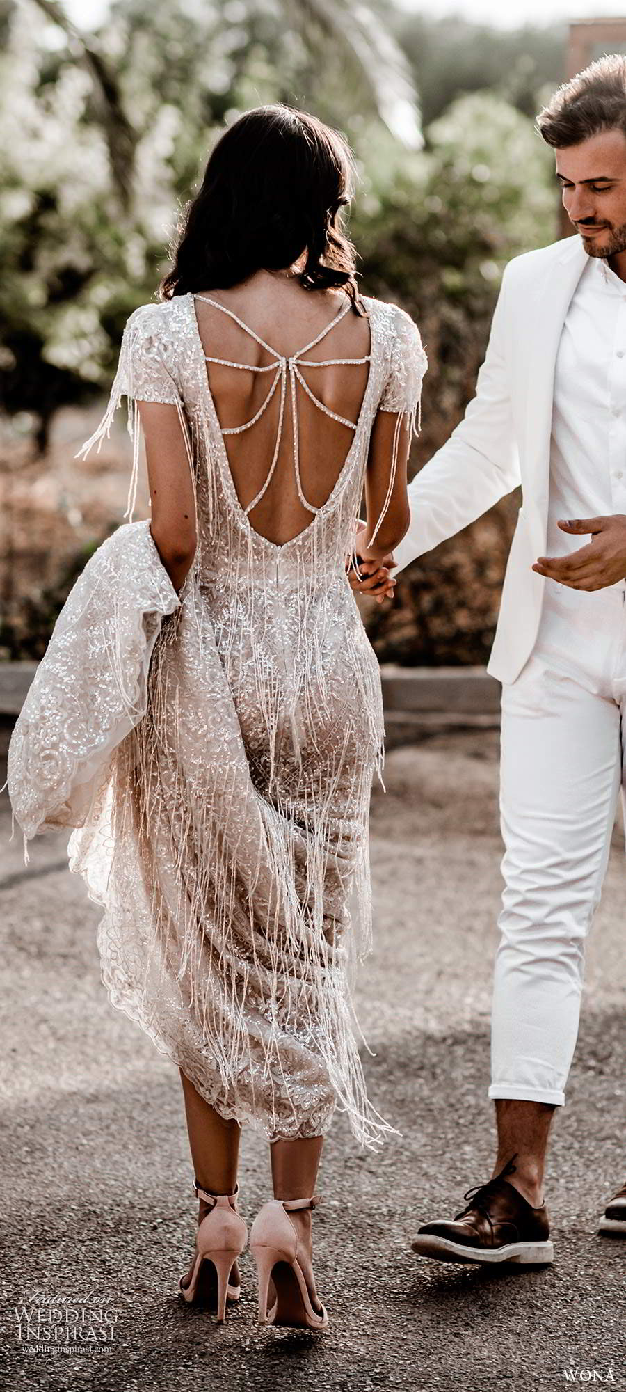 wona fall 2020 bridal short sleeves v neckline fully embellished beaded fringe sheath wedding dress low scoop back chapel train (7) bv