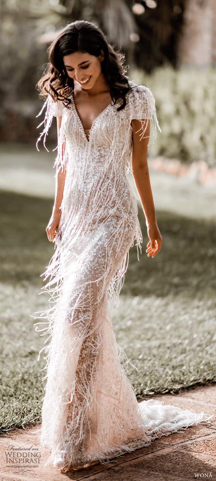 wona fall 2020 bridal short sleeves v neckline fully embellished beaded fringe sheath wedding dress low scoop back chapel train (7) mv