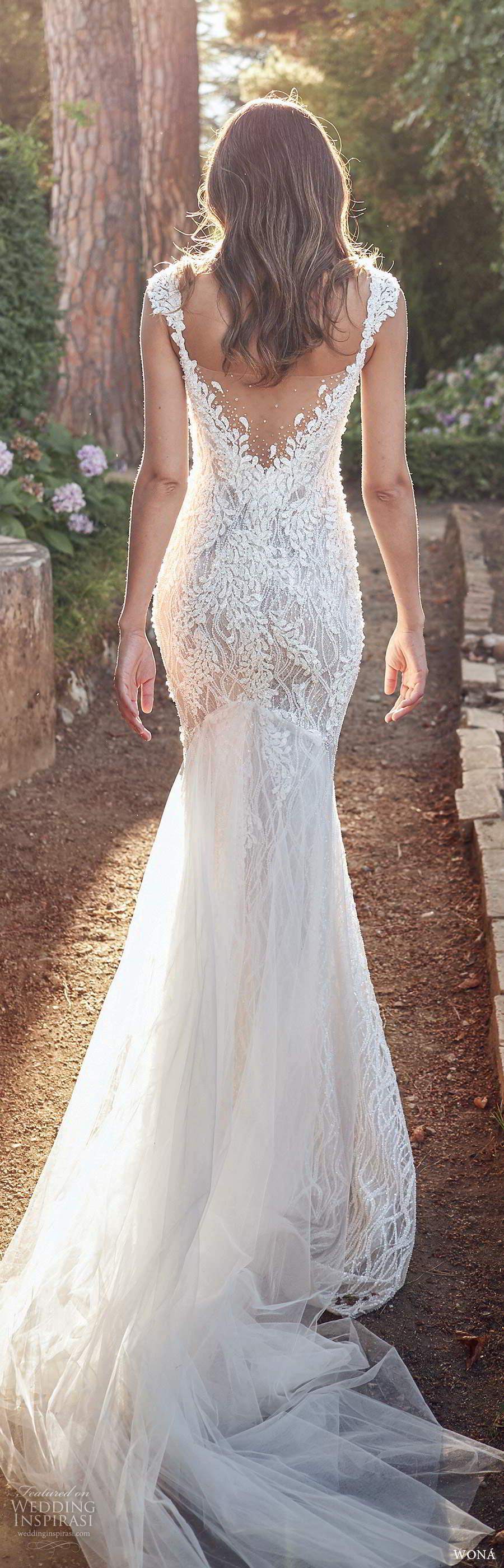 wona fall 2020 bridal sleeveless beaded straps plunging v neckline fully embellished sheath wedding dress illusion v back chapel train (8) bv