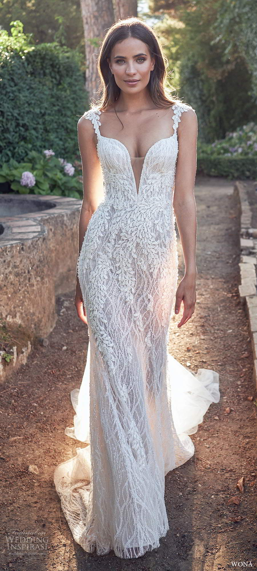 wona fall 2020 bridal sleeveless beaded straps plunging v neckline fully embellished sheath wedding dress illusion v back chapel train (8) mv