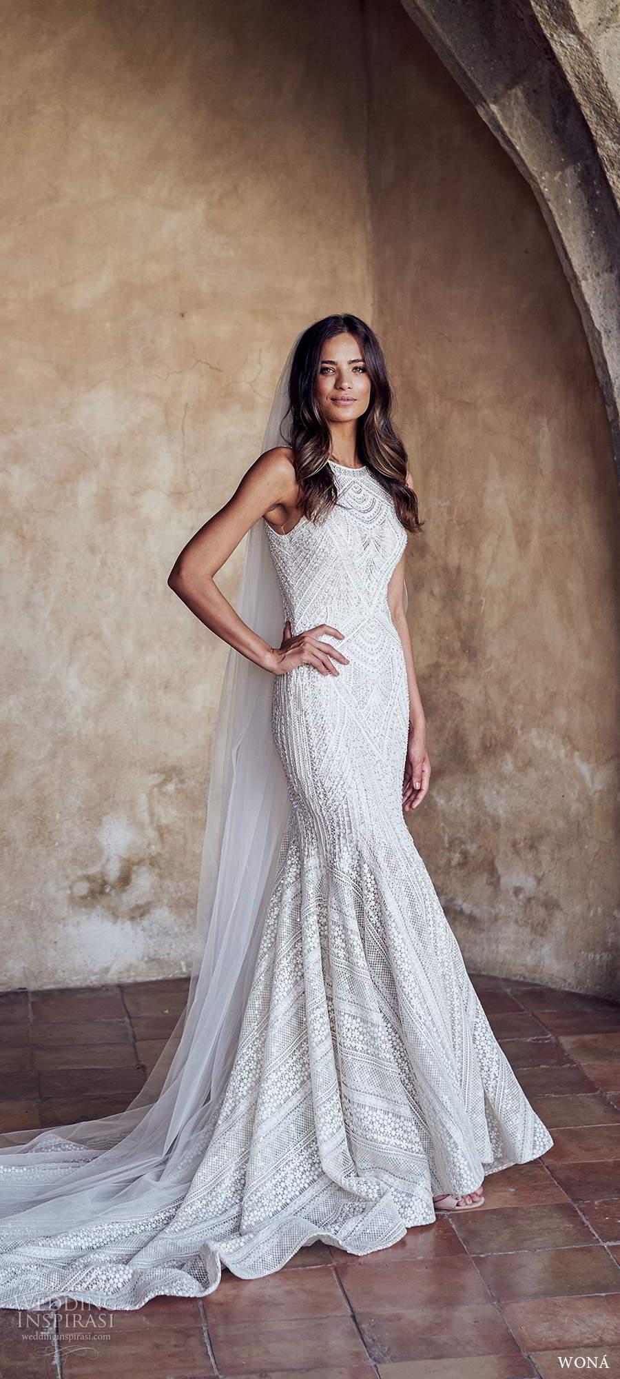 wona fall 2020 bridal sleeveless halter neckline fully embellished lace sheath wedding dress chapel train (2) mv