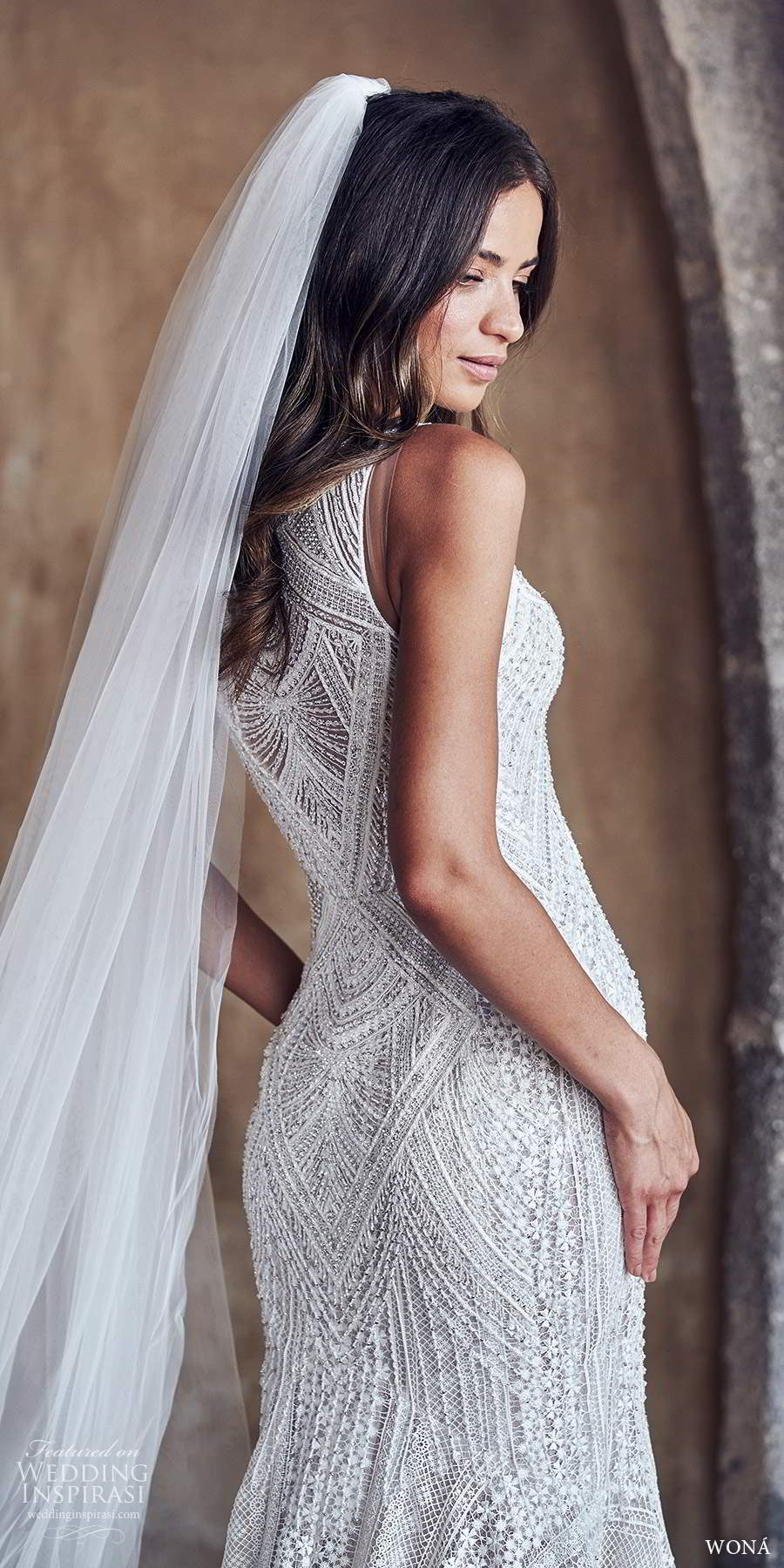 wona fall 2020 bridal sleeveless halter neckline fully embellished lace sheath wedding dress chapel train (2) zbv
