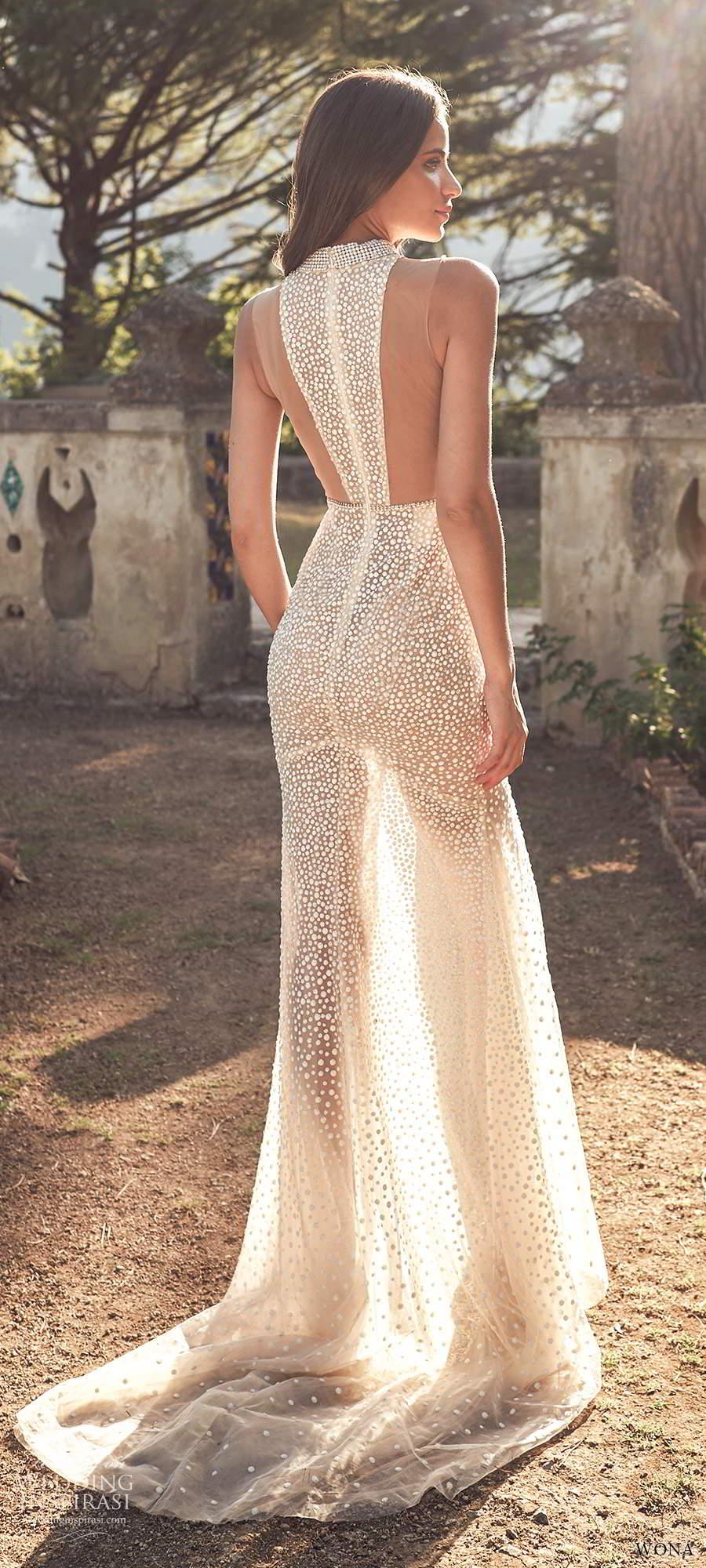 wona fall 2020 bridal sleeveless high halter neckline keyhole bodice fully embellished sheath wedding dress slit skirt chapel train (14) bv