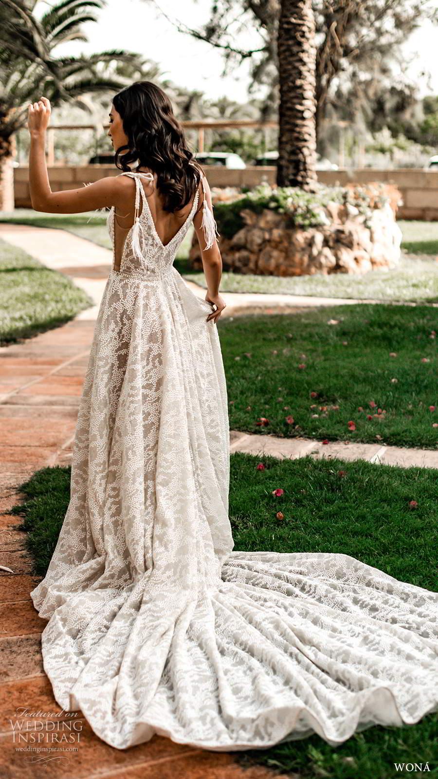 wona fall 2020 bridal sleeveless straps plunging v neckline fully embellished a line ball gown wedding dress v back cathedral train (16) bv