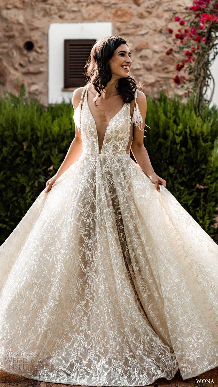 wona fall 2020 bridal sleeveless straps plunging v neckline fully embellished a line ball gown wedding dress v back cathedral train (16) mv