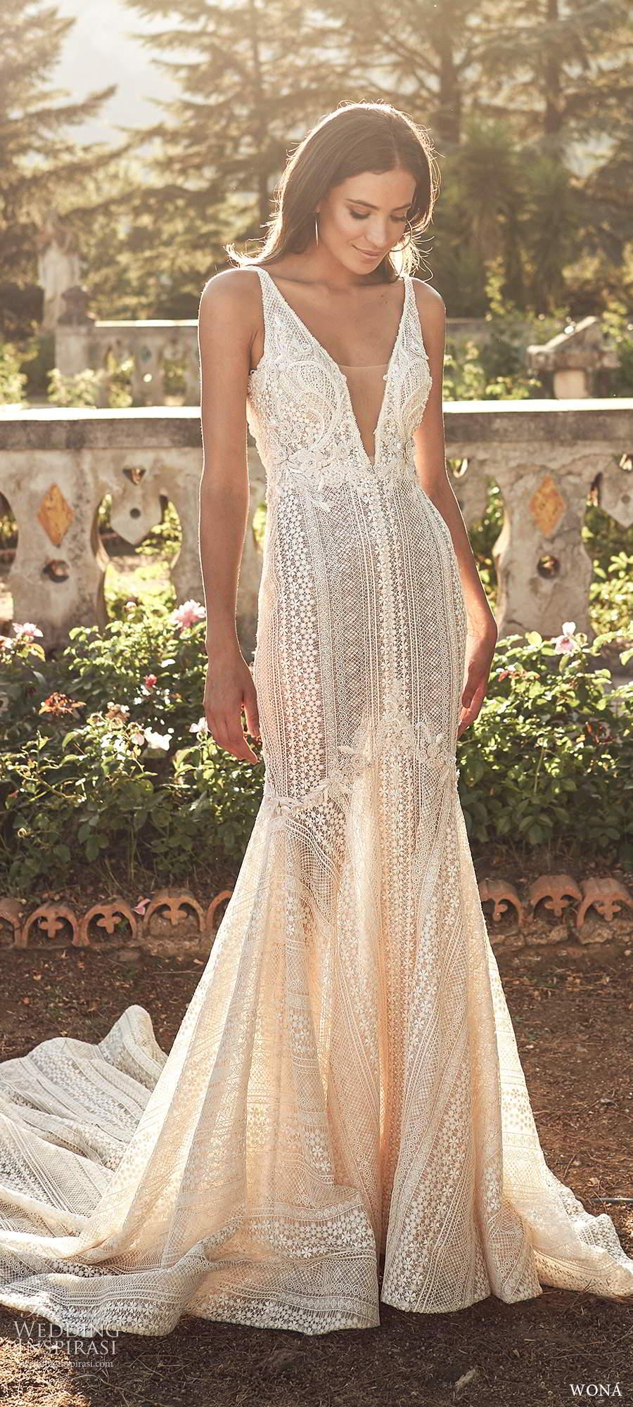 wona fall 2020 bridal sleeveless straps plunging v neckline fully embellished lace fit flare mermaid wedding dress v back chapel train (15) mv