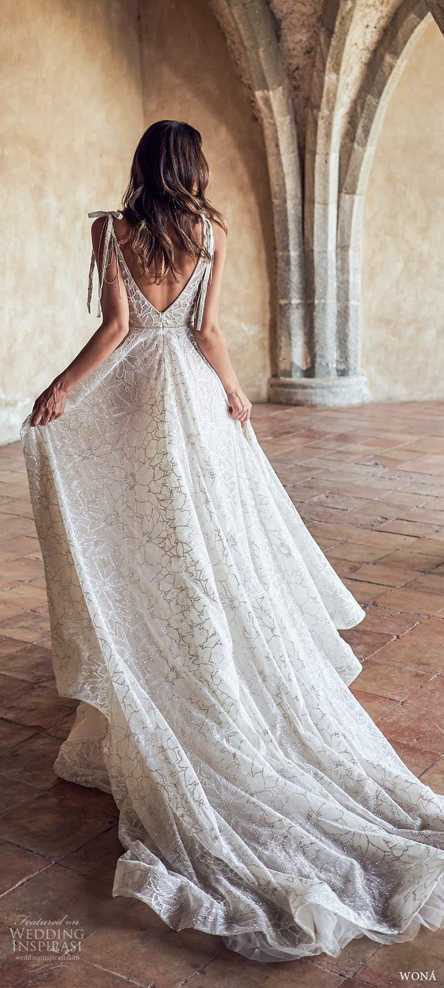 wona fall 2020 bridal sleeveless thin ribbon straps plunging v neckline fully embellished a line ball gown wedding dress v back chapel train (11) bv