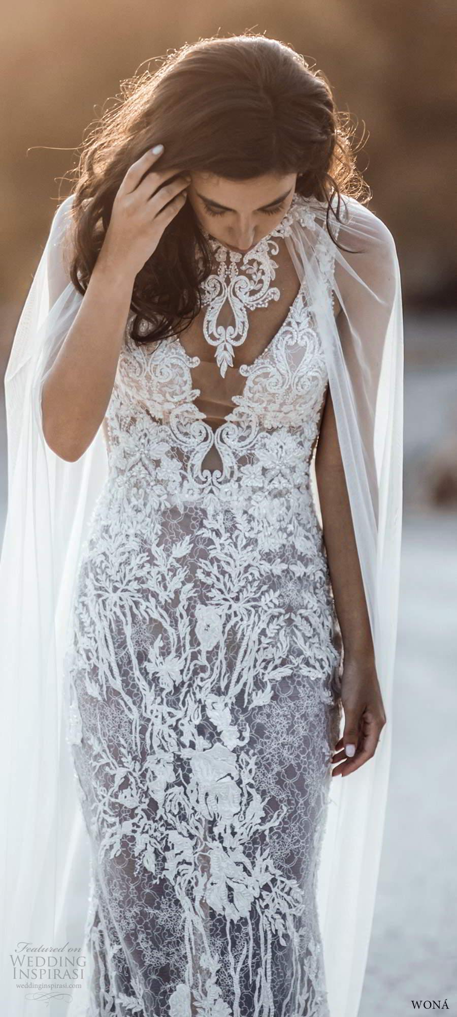 wona fall 2020 bridal sleevless beaded straps plunging v neckline fully embellished sheath wedding dress chapel train illusion cape (10) fv