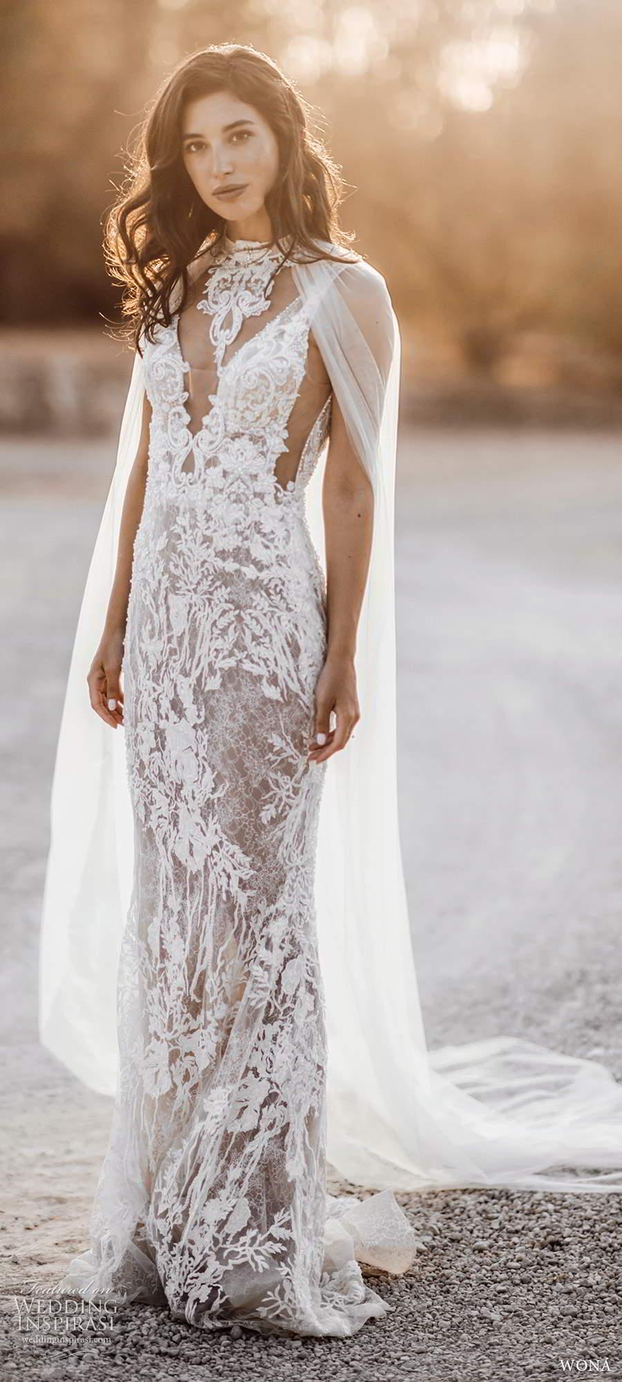 wona fall 2020 bridal sleevless beaded straps plunging v neckline fully embellished sheath wedding dress chapel train illusion cape (10) mv