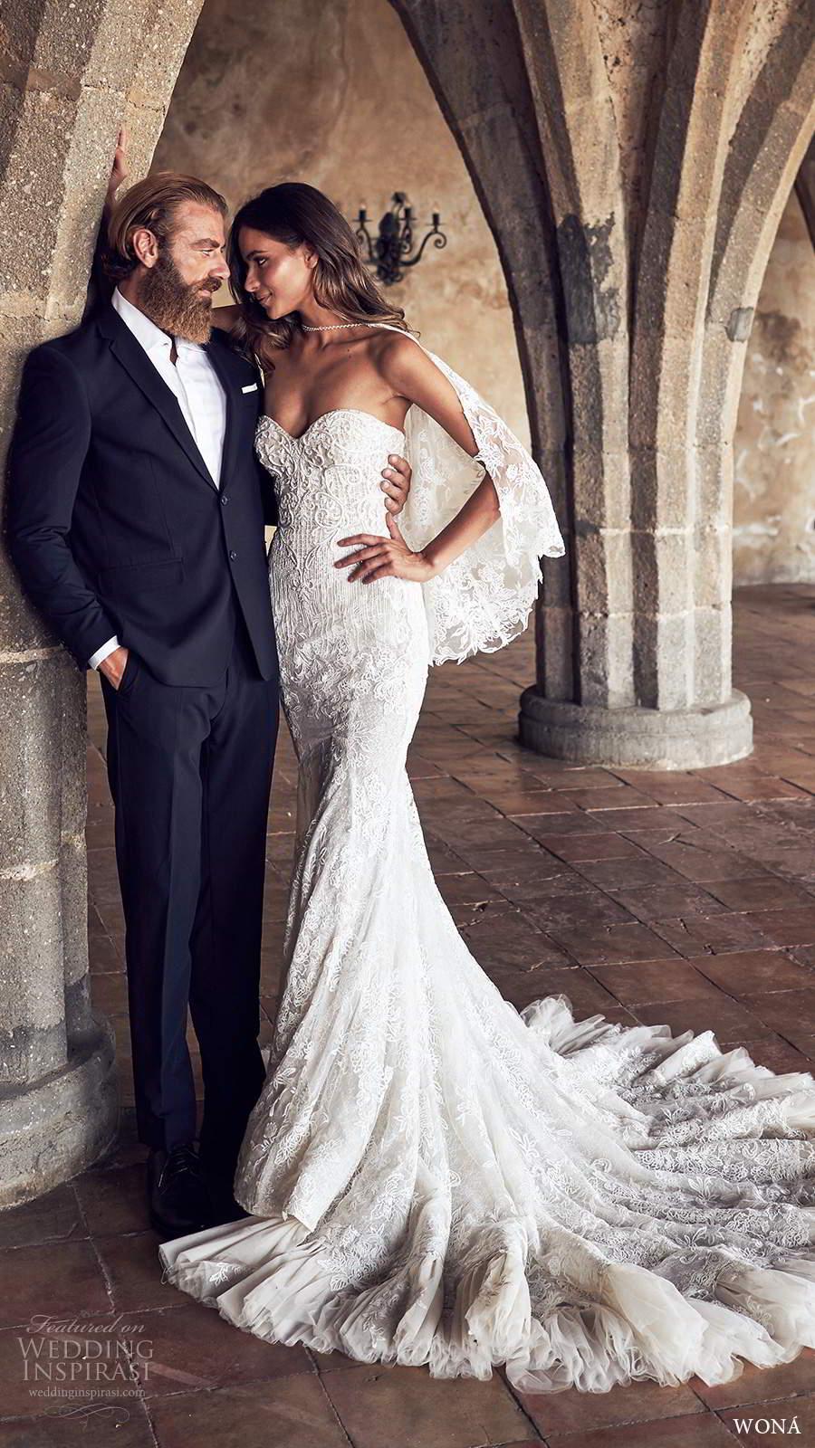 wona fall 2020 bridal strapless sweetheart fully embellished lace fit flare mermaid wedding dress chapel train sheer capelet (1) mv