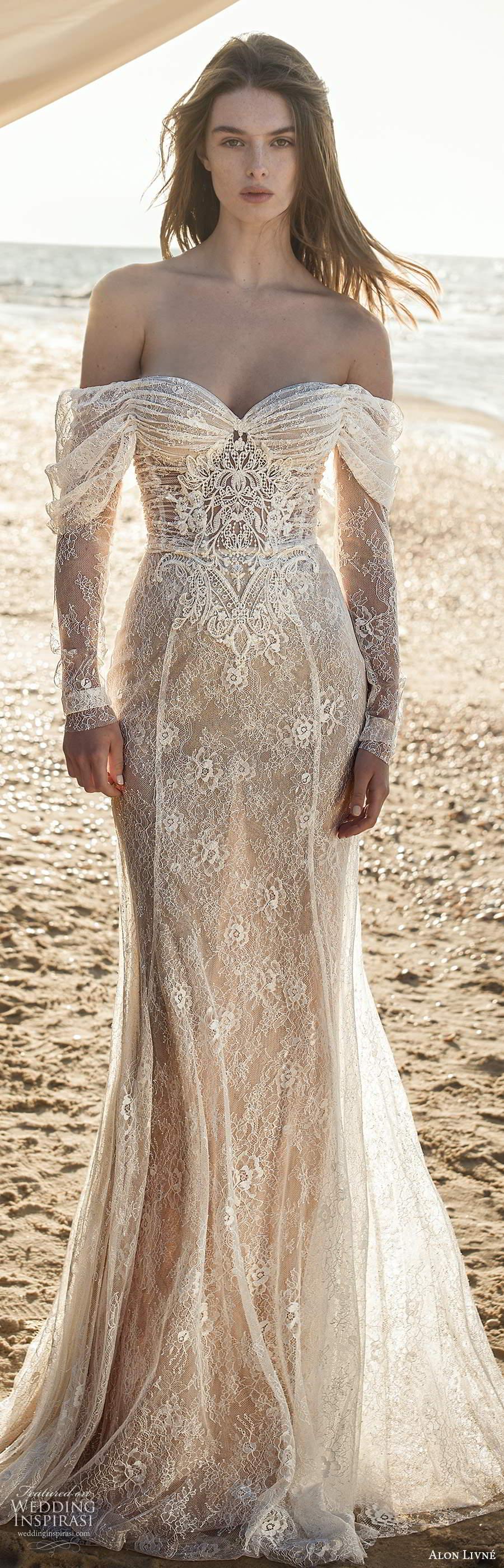alon livne fall 2020 bridal illusion long sleeves off shoulder sweetheart neckline sheer bodice embellished lace fit flare mermaid wedding dress (3) lv