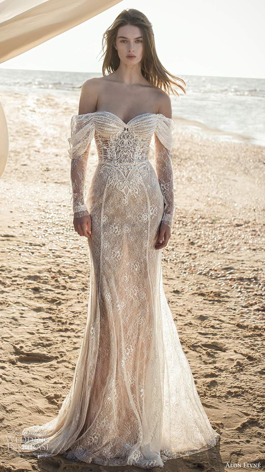 alon livne fall 2020 bridal illusion long sleeves off shoulder sweetheart neckline sheer bodice embellished lace fit flare mermaid wedding dress (3) mv