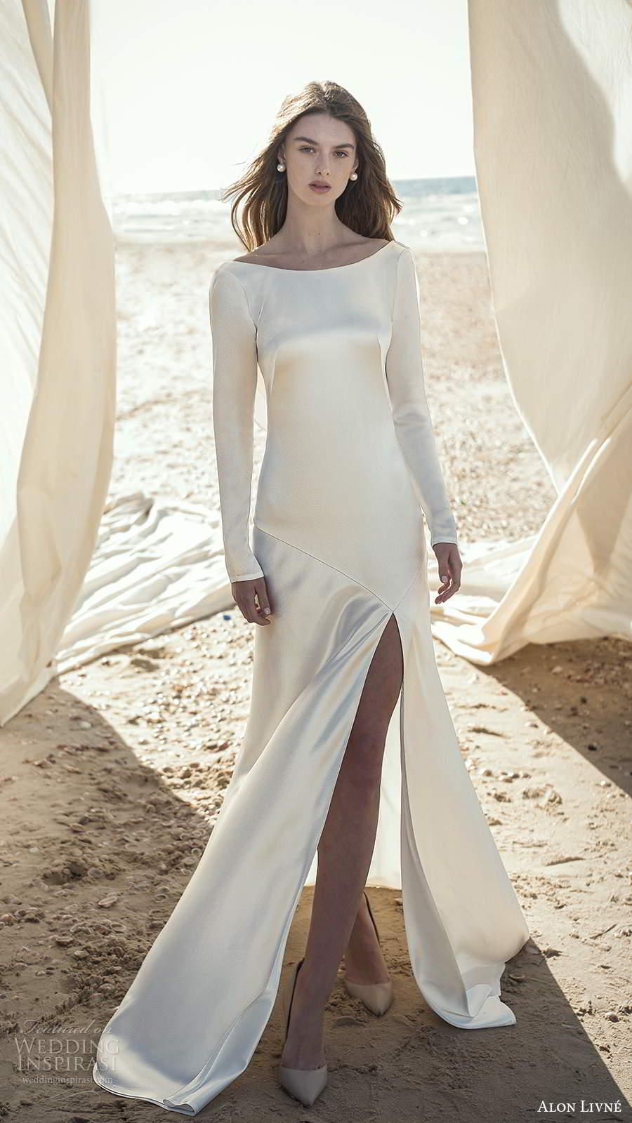 alon livne fall 2020 bridal long sleeves bateau neckline clean minimalist sheath a line wedding dress slit skirt (10) mv