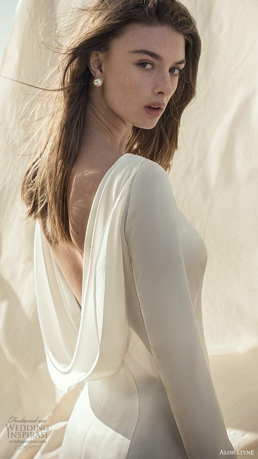 alon livne fall 2020 bridal long sleeves bateau neckline clean minimalist sheath a line wedding dress slit skirt (10) zbv