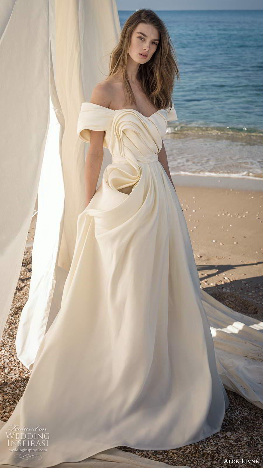 alon livne fall 2020 bridal off shoulder short sleeves semi sweetheart neclkine ruched bodice a line ball gown wedding dress (4) mv