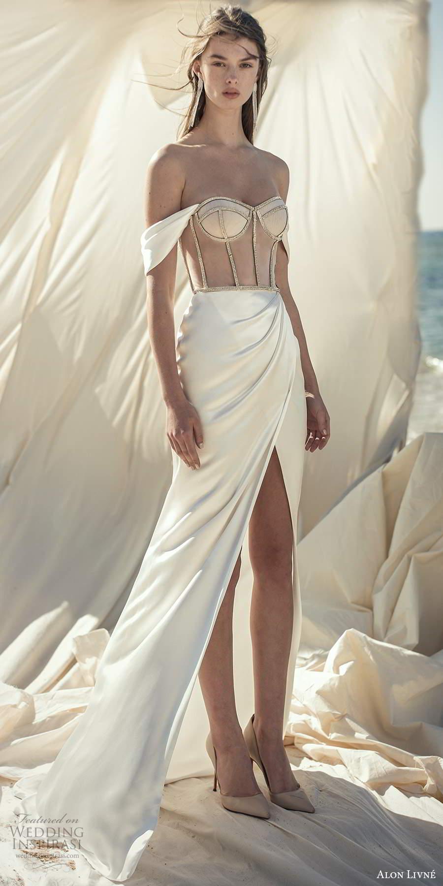 alon livne fall 2020 bridal off shoulder straps semi sweetheart neckline sheer corset bodice sheath wedding dress slit skirt (12) mv