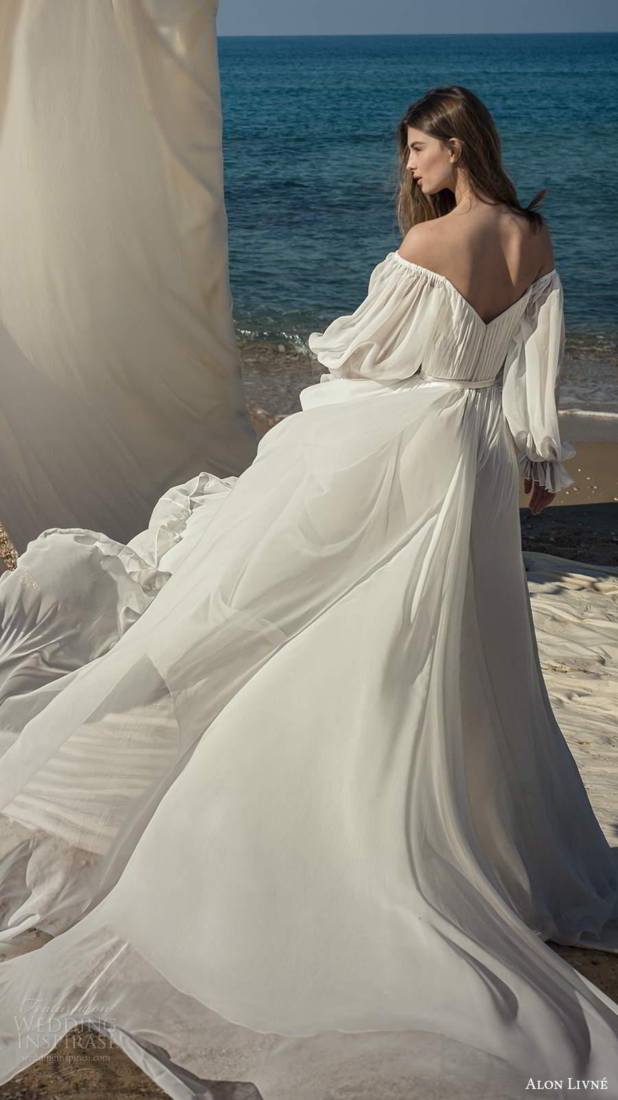 alon livne fall 2020 bridal sheer bishop sleeves off shoulder sweetheart neckline pleated bodice a line ball gown wedding dress v back chapel train (2) bv