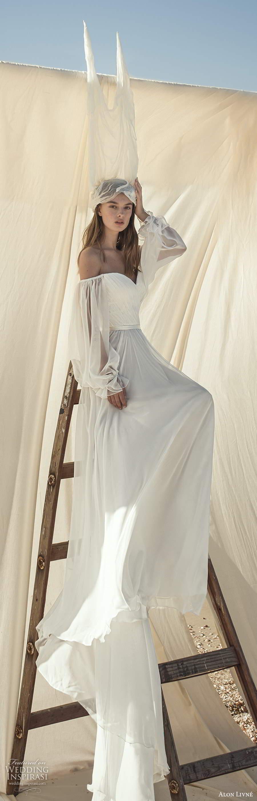 alon livne fall 2020 bridal sheer bishop sleeves off shoulder sweetheart neckline pleated bodice a line ball gown wedding dress v back chapel train (2) lv