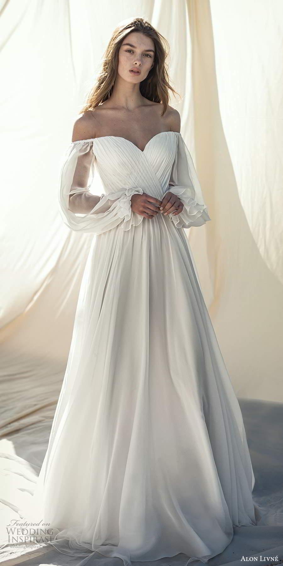 alon livne fall 2020 bridal sheer bishop sleeves off shoulder sweetheart neckline pleated bodice a line ball gown wedding dress v back chapel train (2) mv