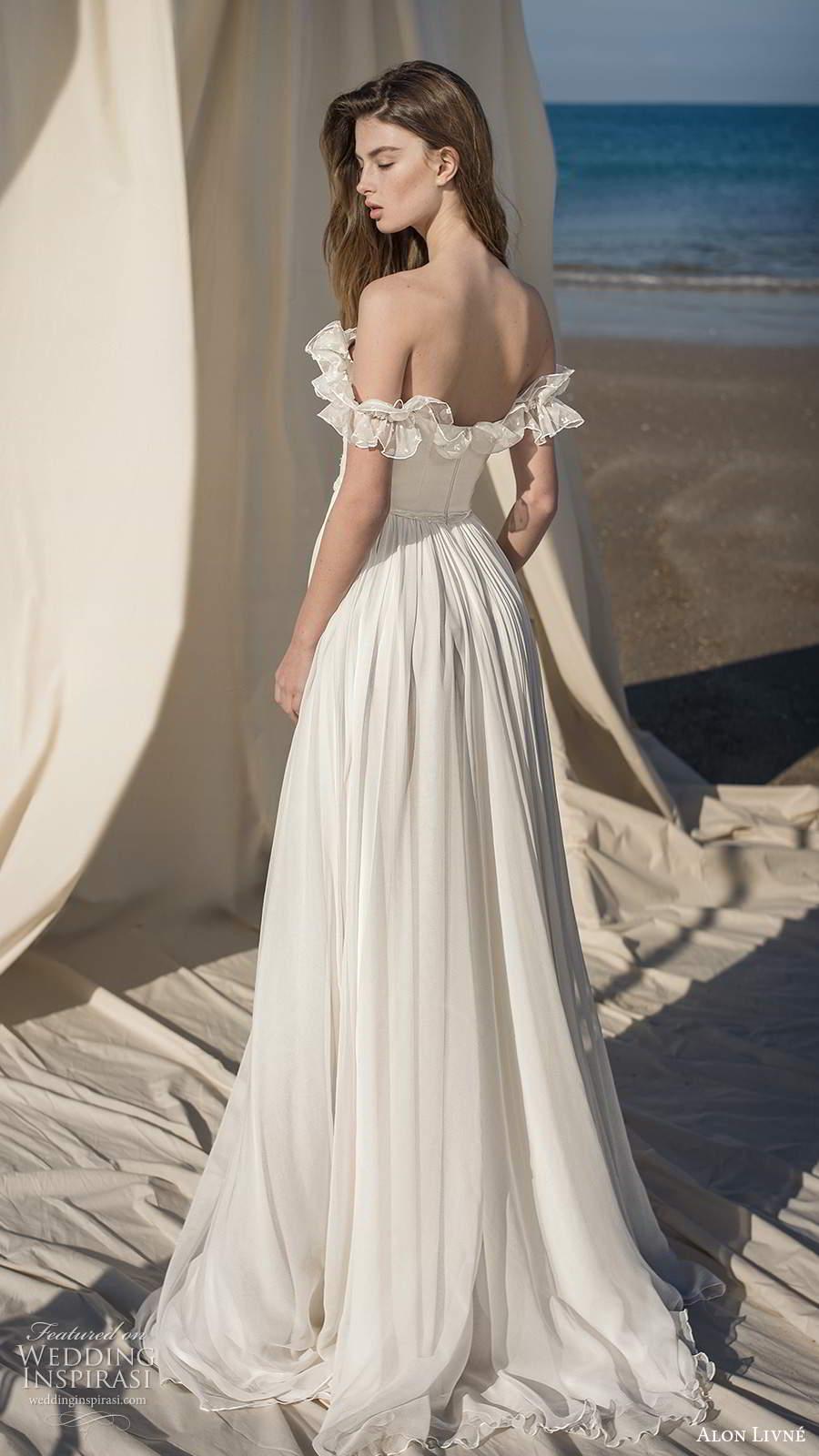 alon livne fall 2020 bridal sheer off shoulder ruffle straps straight across neckline corset bodice a line wedding dress slit skirt (7) bv