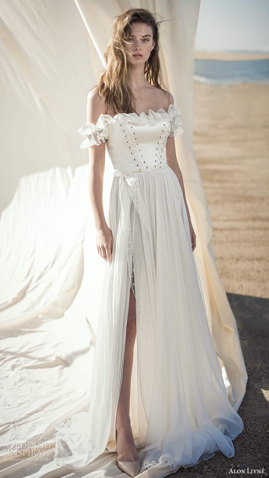 alon livne fall 2020 bridal sheer off shoulder ruffle straps straight across neckline corset bodice a line wedding dress slit skirt (7) mv