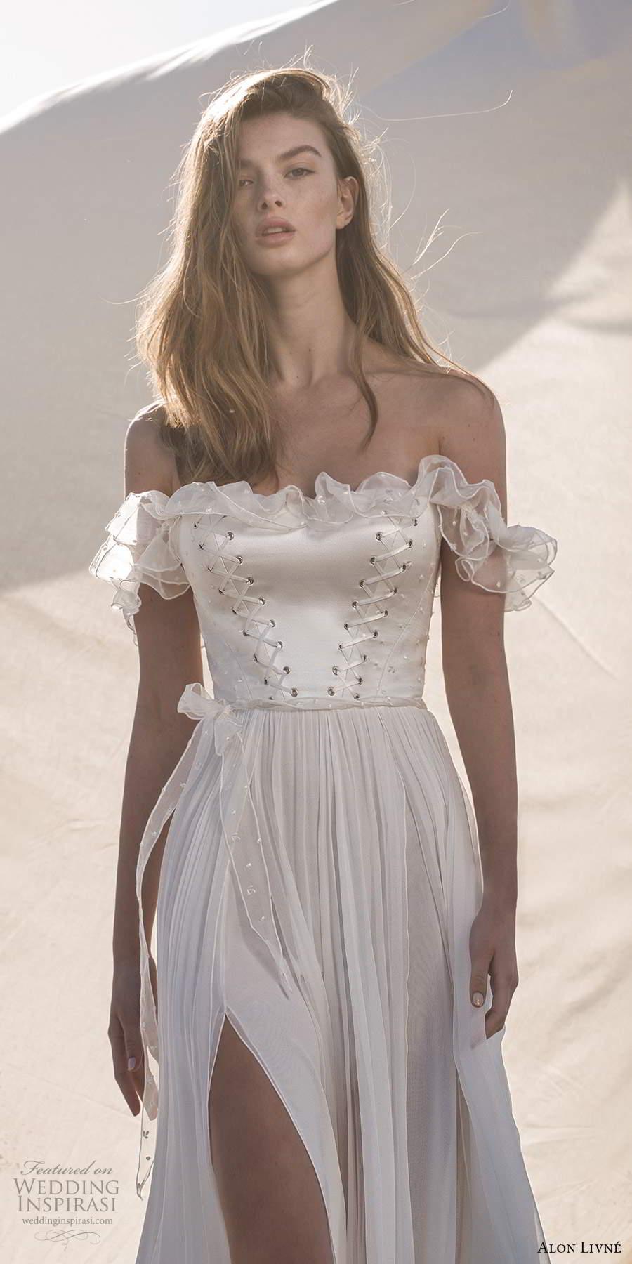 alon livne fall 2020 bridal sheer off shoulder ruffle straps straight across neckline corset bodice a line wedding dress slit skirt (7) zv