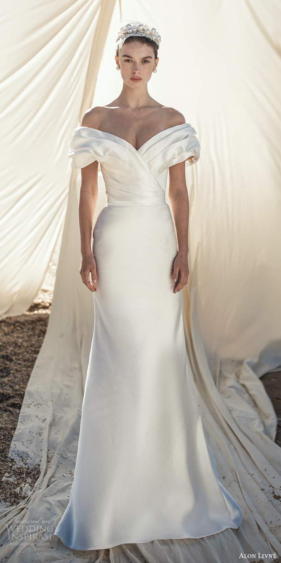 alon livne fall 2020 bridal short puff sleeves off shoulder v neckline pleated bodice sheath mermaid wedding dress (1) mv
