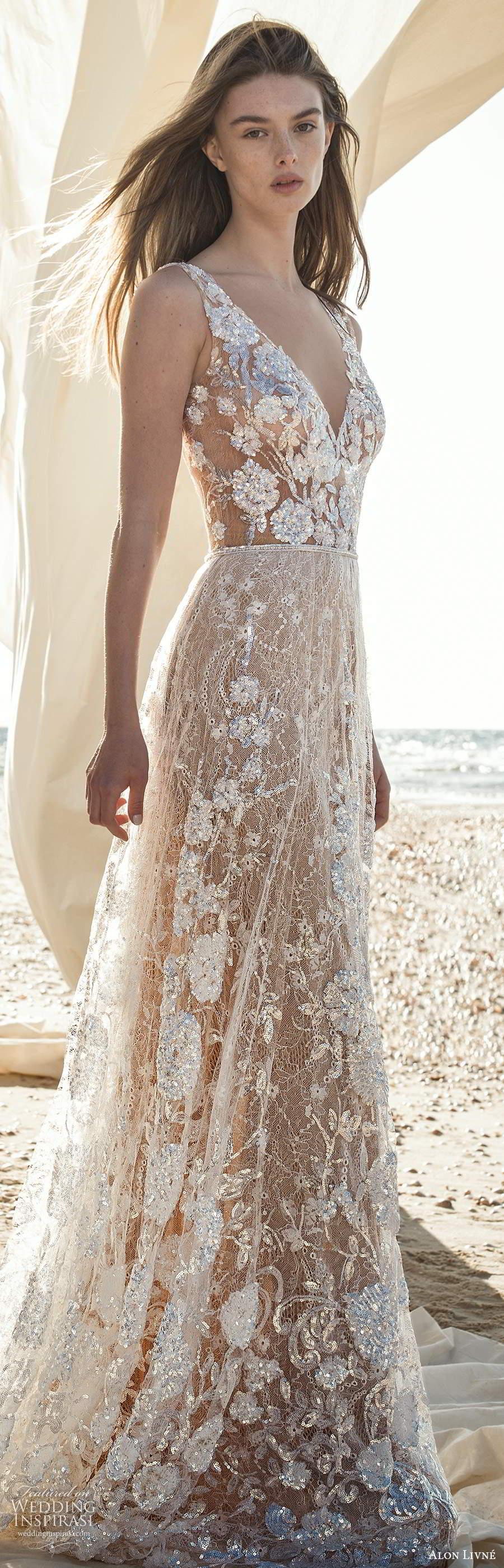 alon livne fall 2020 bridal sleeveless straps v neckline sheer bodice fully embellished a line ball gown wedding dress chapel train (6) lv