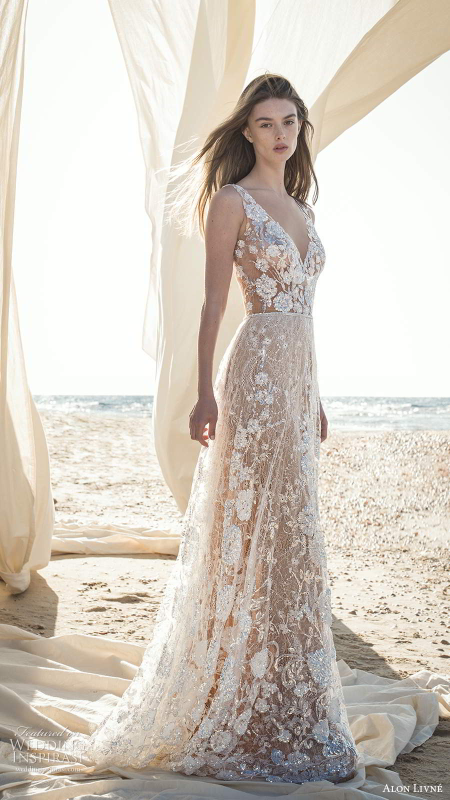 alon livne fall 2020 bridal sleeveless straps v neckline sheer bodice fully embellished a line ball gown wedding dress chapel train (6) mv