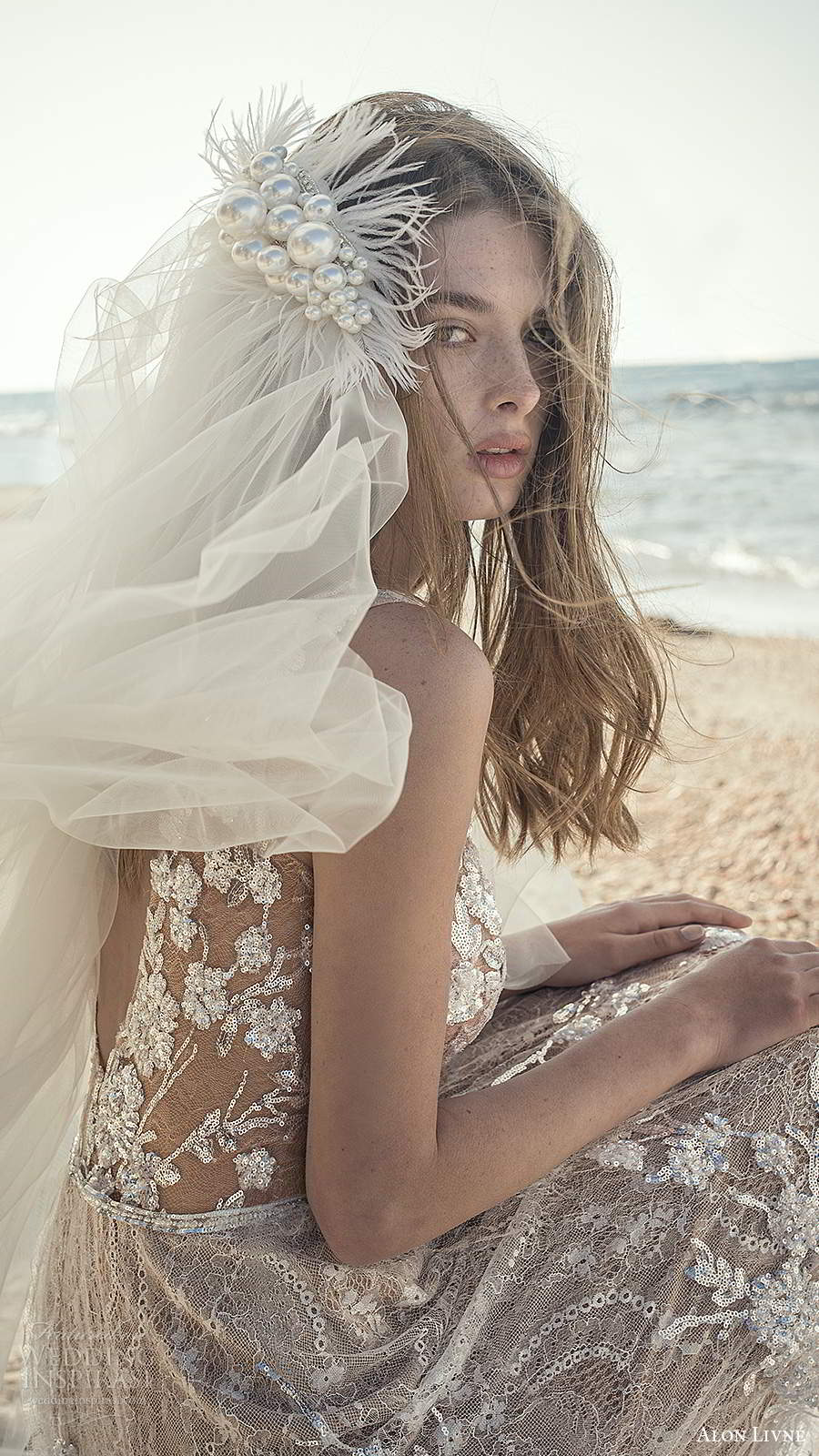 alon livne fall 2020 bridal sleeveless straps v neckline sheer bodice fully embellished a line ball gown wedding dress chapel train veil (6) zbv