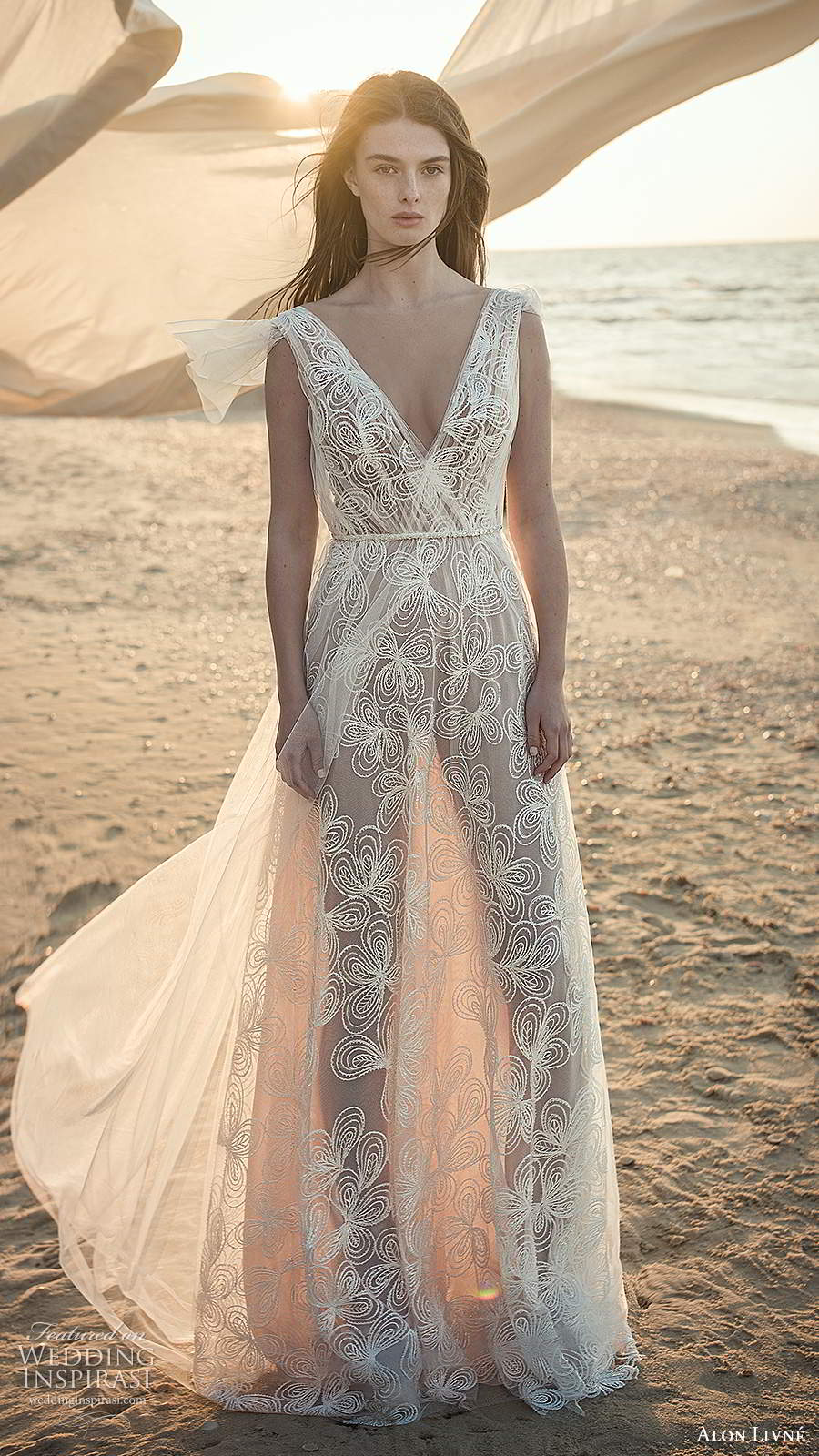 alon livne fall 2020 bridal sleeveless thick straps v neckline ruched bodice a line wedding dress (8) mv