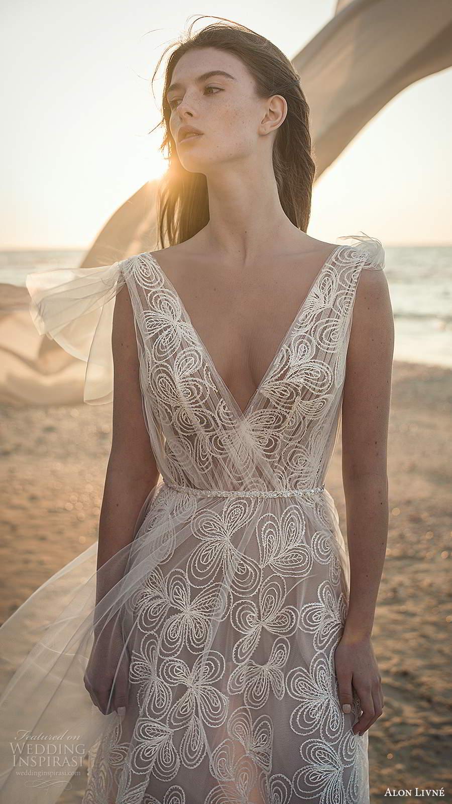 alon livne fall 2020 bridal sleeveless thick straps v neckline ruched bodice a line wedding dress (8) zv