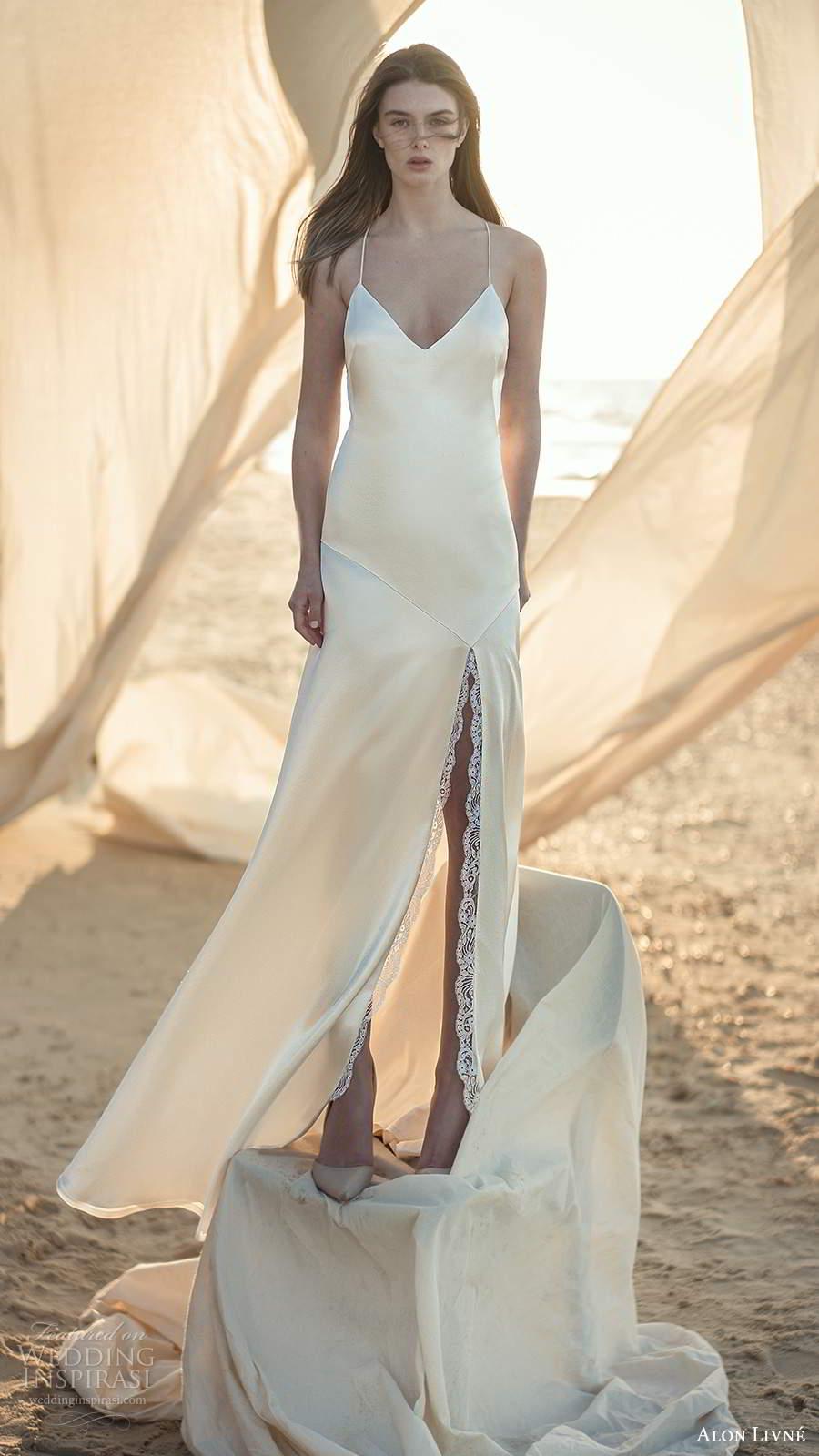 alon livne fall 2020 bridal sleeveless thin straps v neckline minimalist clean slip sheath wedding dress slit skirt (11) mv