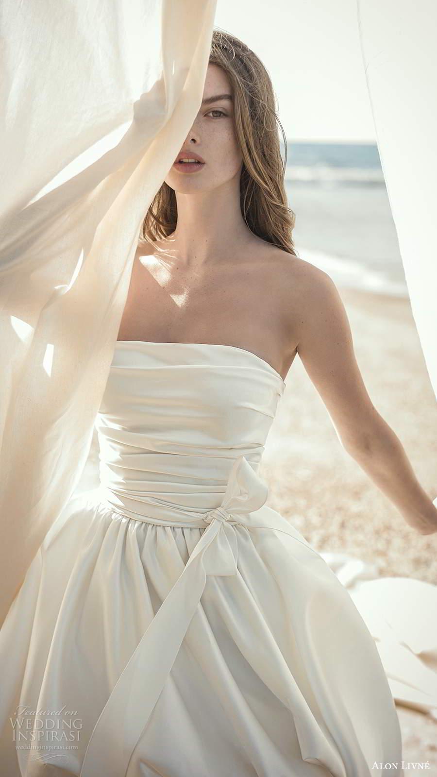 alon livne fall 2020 bridal strapless straight across pleated bodice high low ball gown wedding dress chapel train  (9) zv