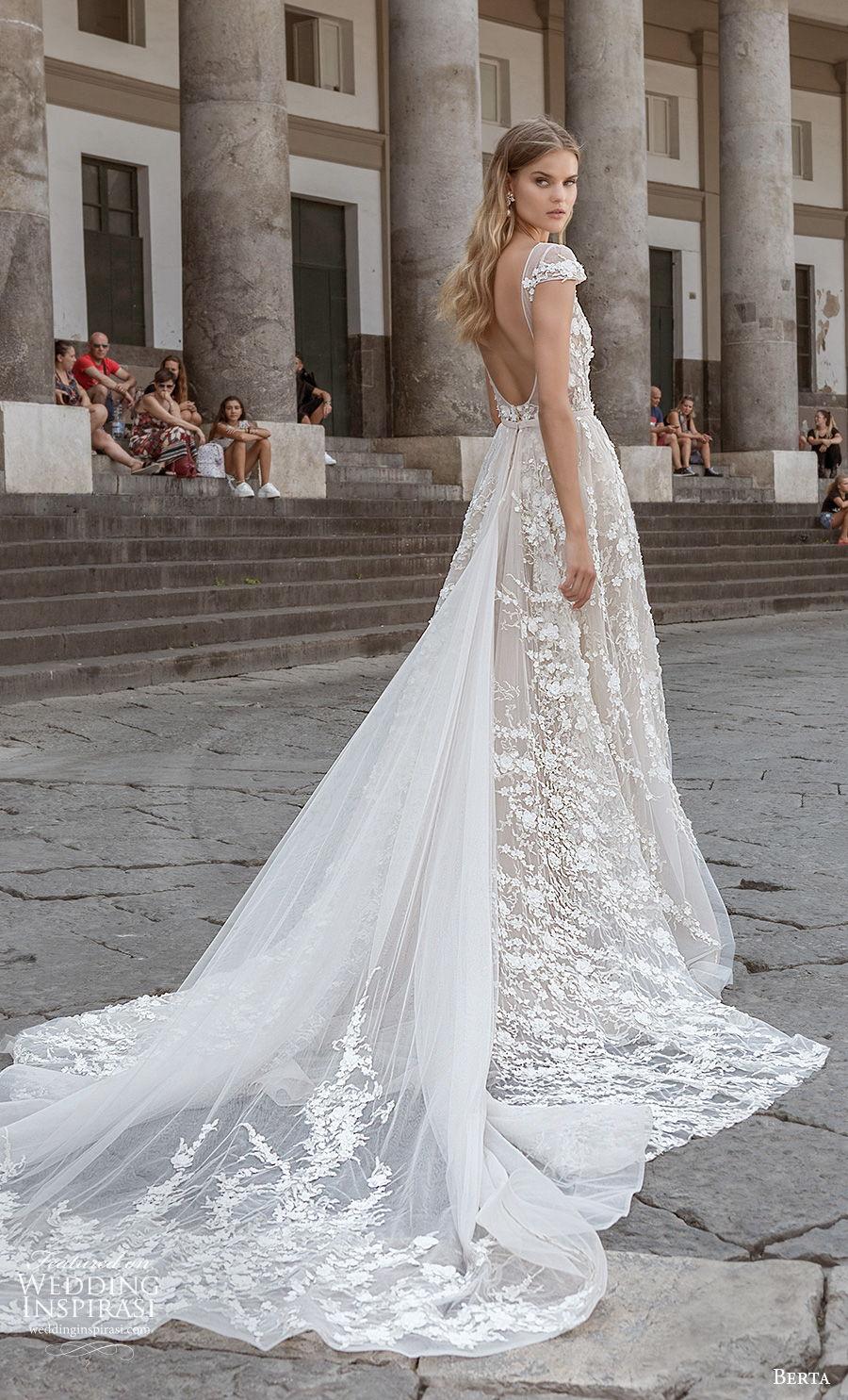 berta fall 2020 bridal cap sleeves bateau neckline full embellishment romantic soft a  line wedding dress backless low back chapel train (10) bv