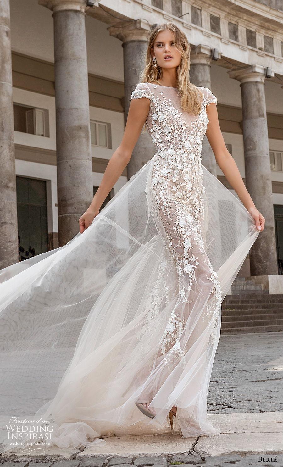 berta fall 2020 bridal cap sleeves bateau neckline full embellishment romantic soft a  line wedding dress backless low back chapel train (10) mv
