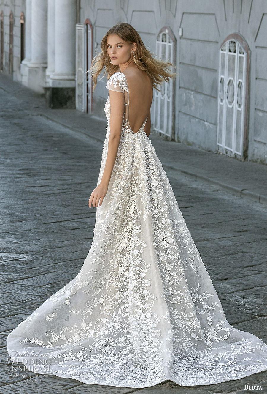 berta fall 2020 bridal cap sleeves deep v neck full embellishment sexy elegant fit and flare wedding dress a  line overskirt backless scoop back medium train (3) bv