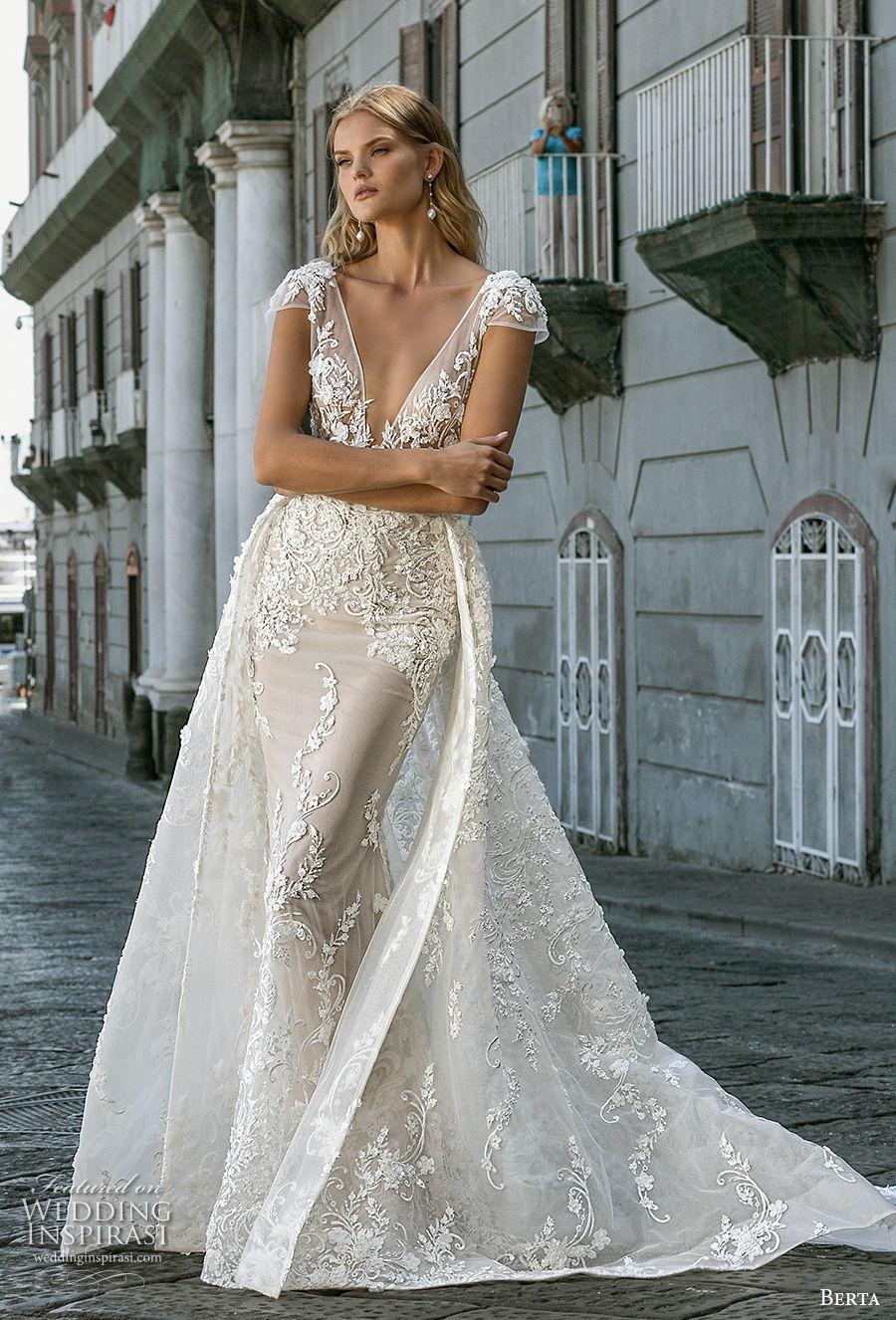 berta fall 2020 bridal cap sleeves deep v neck full embellishment sexy elegant fit and flare wedding dress a  line overskirt backless scoop back medium train (3) mv