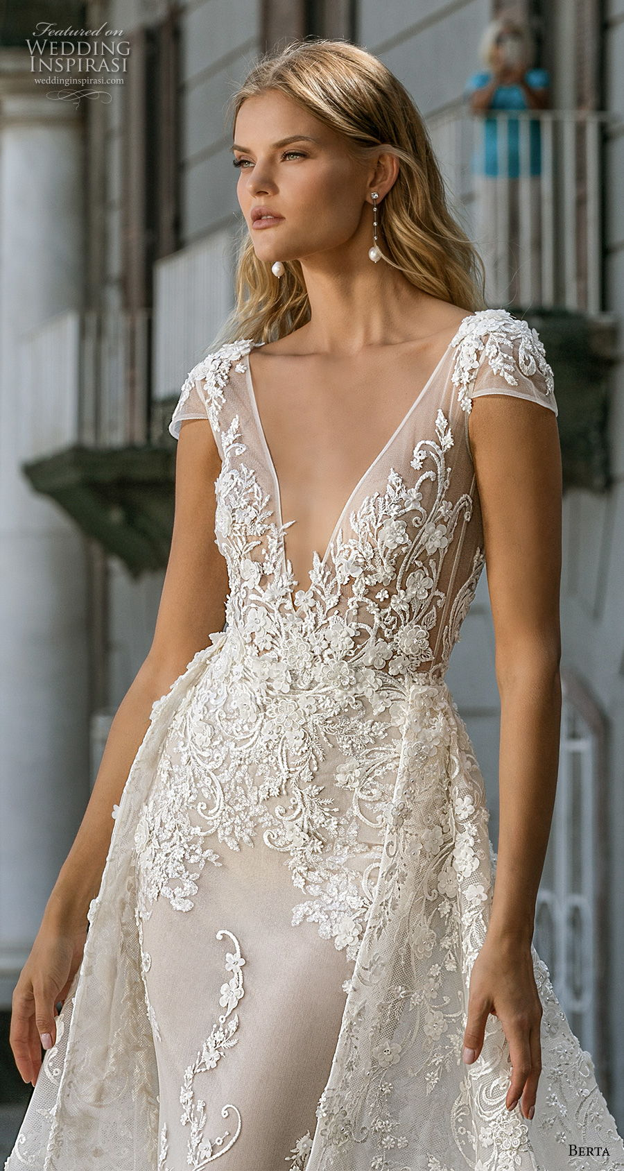 berta fall 2020 bridal cap sleeves deep v neck full embellishment sexy elegant fit and flare wedding dress a  line overskirt backless scoop back medium train (3) zv